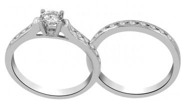 0.75ct SI1-2 Bridal Set Wedding Engagement Ring Band Real Diamond 14K Solid Gold