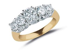 0.90 Ct SI1-2 Five Stone Wedding Ring Band 14Kt Yellow Gold  Round Diamond Jewelry