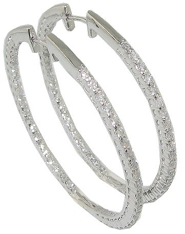 2.01 Hoops Huggies Earrings Huge Round Cut Diamond Jewelry 14K White Gold