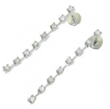 1.20Ct SI1-2  Prong Set Round Cut Diamond 14Kt Gold New  Dangle Chandelier Earrings