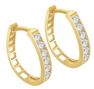 0.40CT VS Diamond Channel Set 18K Gold Hoops Huggies Earrings