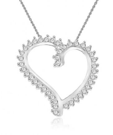 0.75ct VS Prong Set 1.00 Inch 18k Gold Heart Pendant Necklace