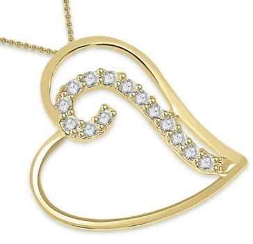 0.20ct VS diampond 18K Gold Heart Pendant Necklace
