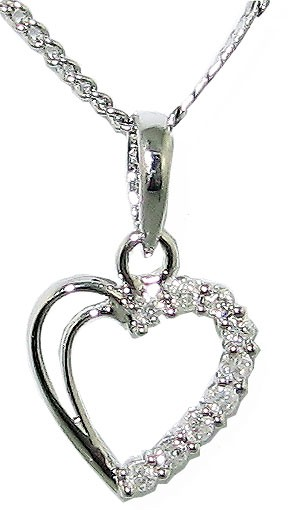 0.25ct SI1-2 Love Of Heart Pendant Necklace Round Cut Diamond Jewelry White Gold