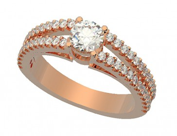 1.01ct Accent Solitaire Diamond 18k engagement ring band