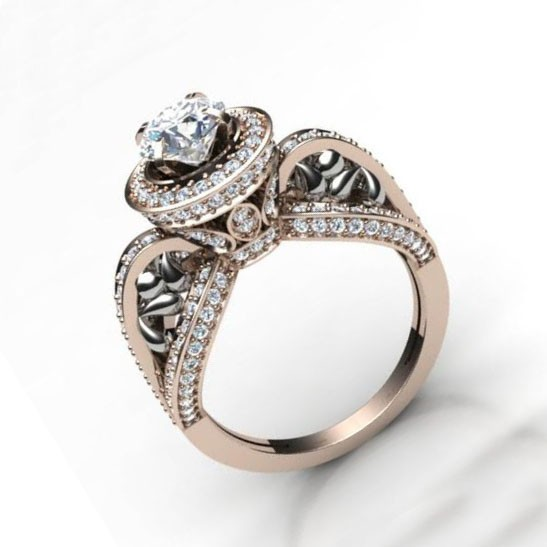 Designs For Solitaire Rings   2 00ct Si1 2 Natural Diamond Designer Solitaire Ring Wedding Band