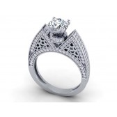 1.50Ct  SI1-2 Real Diamond White Gold Halo Set Solitaire Wedding Engagement Ring Band