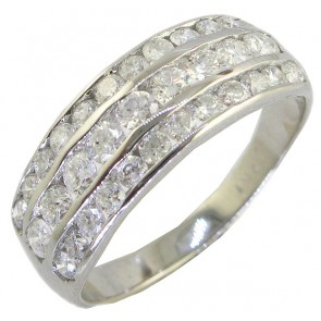 1.15ct VS Channel Set Engagement 18k Wedding Ring Band
