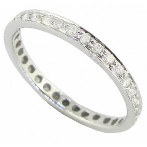 0.55Ct SI1-2 Natural Diamond 18Kt Solid Gold Eternity Wedding Stackable Ring Band