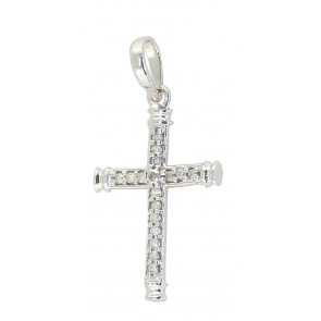 0.25Ct SI1-2 Cross Pendant Necklace Round Diamond Jewelry White Gold Appraisal
