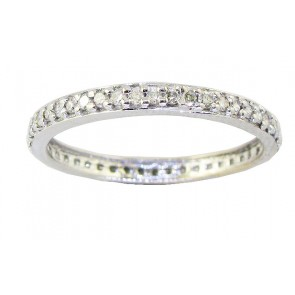 0.65Ct  SI1-2 Natural Diamond 18Kt Gold Eternity Engagement Stackable Ring Band