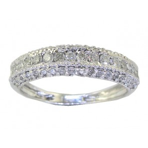 0.85Ct SI1-2 Diamond 18k White Gold Excellent Wedding Anniversary Ring Band