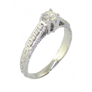 0.35Ct  SI1-2 Not Enhanced Diamond 18k White Gold Solitaire Wedding Anniversary Ring