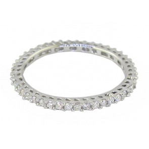0.75ct SI1-2  Round Diamond Eternity Stackable 18K Ring Wedding Band