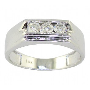 0.50ct VS Round Cut Diamond 18Kt Solid Gold Mens Anniversary Ring