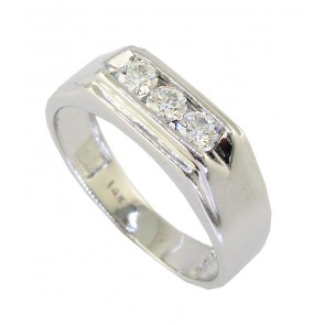0.50ct SI1-2 Round Cut Diamond 18Kt Solid Gold Mens Anniversary Ring