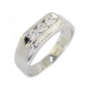 0.50Ct VS  Round Cut Diamond 18k Mens Anniversary Ring