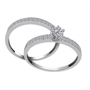 0.90Ct SI1-2  White Gold 18kt Bridal Engagement Ring Set Band Appraisal