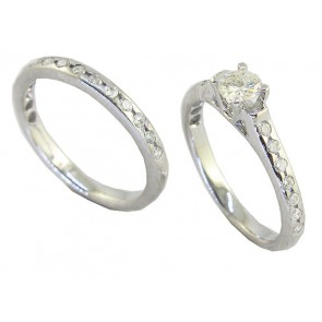 0.75CT VS Round Cut Diamond 18k Bridal Ring Set Engagement Band
