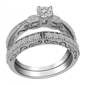 1.25ct SI1-2 New Engagement Bridal Ring Band Set  Natural Diamond 18K White Gold