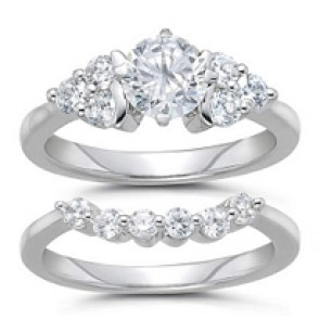 1.01Ct  SI1-2 Round Diamond Jewelry 18Kt Gold Matching Ring Set Enagagement Band