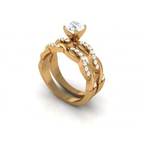 SI1-2 Execellent Bridal Ring Wedding Set Band 1.25Ct Round Diamond 18K Solid Gold
