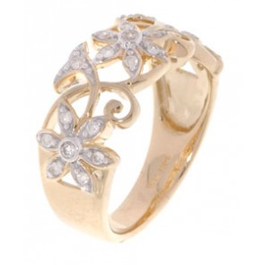 0.50ct SI1-2 Designer Ring Anniversary Band Not Enhanced Diamond 18K Yellow Gold