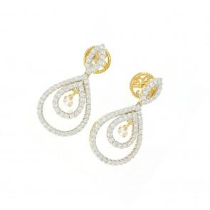 2.85Ct SI1-2  14K Yellow Gold Dangle Chandelier Earrings