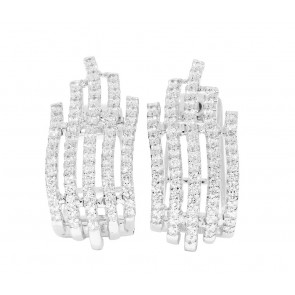 1.10Ct SI1-2 Natural Diamond Jewelry White Gold Hoops Huggie Earrings Appraisal