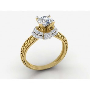 1.01Ct SI1-2 Round Cut Diamond 18Kt Solid Gold Solitaire Anniversary Ring Band