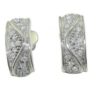 0.40CT VS  Designer Pave Set Round Diamond 18K Hoop Huggie Earrings