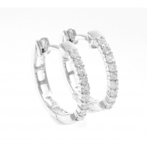 0.25Ct SI1-2 Round Diamond Jewelry 14Kt Solid White Gold Hoop Huggie Earrings