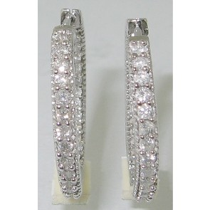 1.10Ct SI1-2 Round Diamond Hoop Huggies Earrings Solid 14Kt White Gold Prong Set
