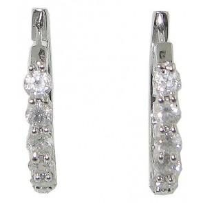 1.20ct SI1-2 Prong Set Hoops Huggies Earrings Real Diamond Jewelry 14K White Gold