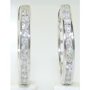 0.45ct SI1-2 Channel Set Diamond 14Kt Solid Gold Hoops Huggies Earrings