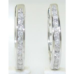 0.45ct SI1-2 Channel Set Diamond 14Kt Solid Gold Hoops Huggies Earrings