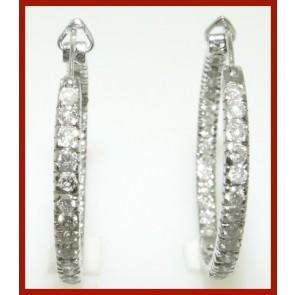 1.60Ct  SI1-2  Hoop Earrings In & Out Side Diamond Jewelry 14K White Gold Appraisal