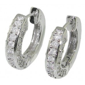 1.01ct SI1-2 Prong Set Hoops Huggie Earrings  Round Diamond Jewelry 14K Solid Gold