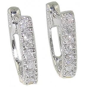 0.25Ct  SI1-2 Round Diamond Jewelry 14K White Gold Hoop Huggie Earrings