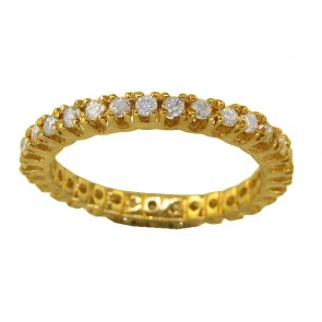 0.55Ct SI1-2 Real Diamond 14Kt Solid Gold Eternity Stackable Ring Band