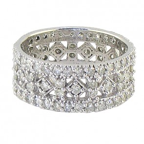 2.25ct SI1-2 Designer Eternity Wedding Ring Band Huge  Real Diamond 14K White Gold