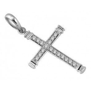 0.50Ct  SI1-2 Round Diamond Jewelry Solid 14Kt White Gold 1.20 Inch Cross Pendant