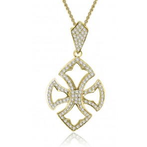 1.60ct SI1-2  Fashion Pendant Necklace 18Kt Solid Gold Round Cut Diamond Jewelry