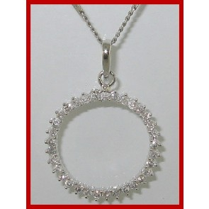 0.80ct SI1-2 Circle Pendant Necklace  Round Diamond Jewelry Solid 14Kt White Gold