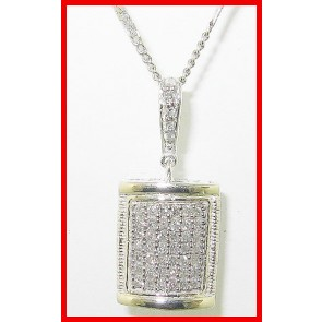 0.45ct SI1-2 Cluster Pendant Necklace Not Enhanced Diamond Jewelry 18K White Gold