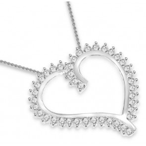 0.75ct  SI1-2  Prong Set 1.00 Inch Heart Pendant Necklace Round Diamond 14Kt Gold