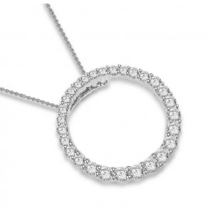 0.80ct SI1-2 Circle Pendant Necklace Not Enhanced Diamond Jewelry 14K Solid Gold