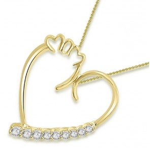 0.30Ct SI1-2 Natural Diamond Jewelry Solid 14K White GoldSI1/G 0.30Ct Natural Diamond Jewelry Solid 14K White Gold Heart Pendant Necklcae