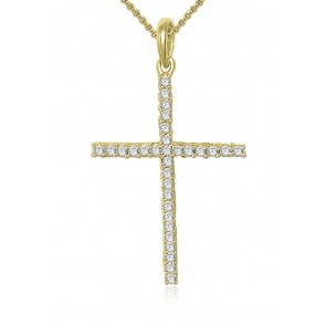VS 0.50Ct DIamond18Kt Gold Cross Pendant Necklace