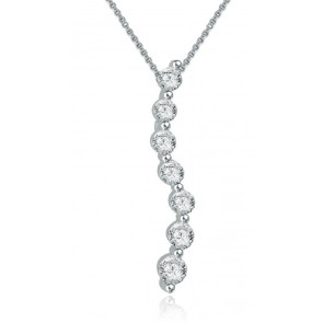 0.55ct SI1-2 Journey Pendant Necklace  Not Enhanced Diamond Jewelry 14K White Gold